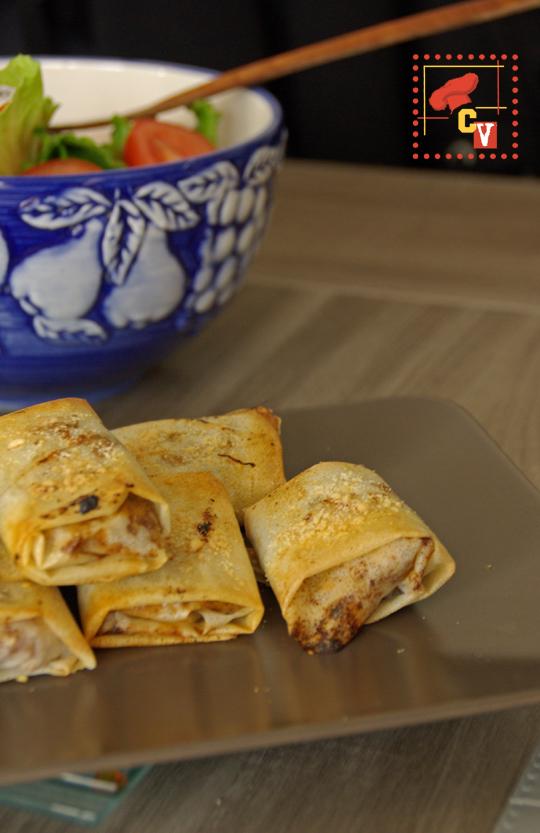 Bricks au poulet et raisins secs, curry et miel