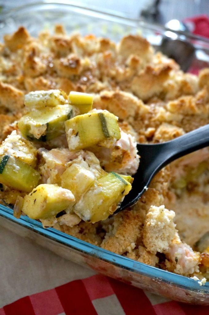 crumble salé courgette et saumon curry