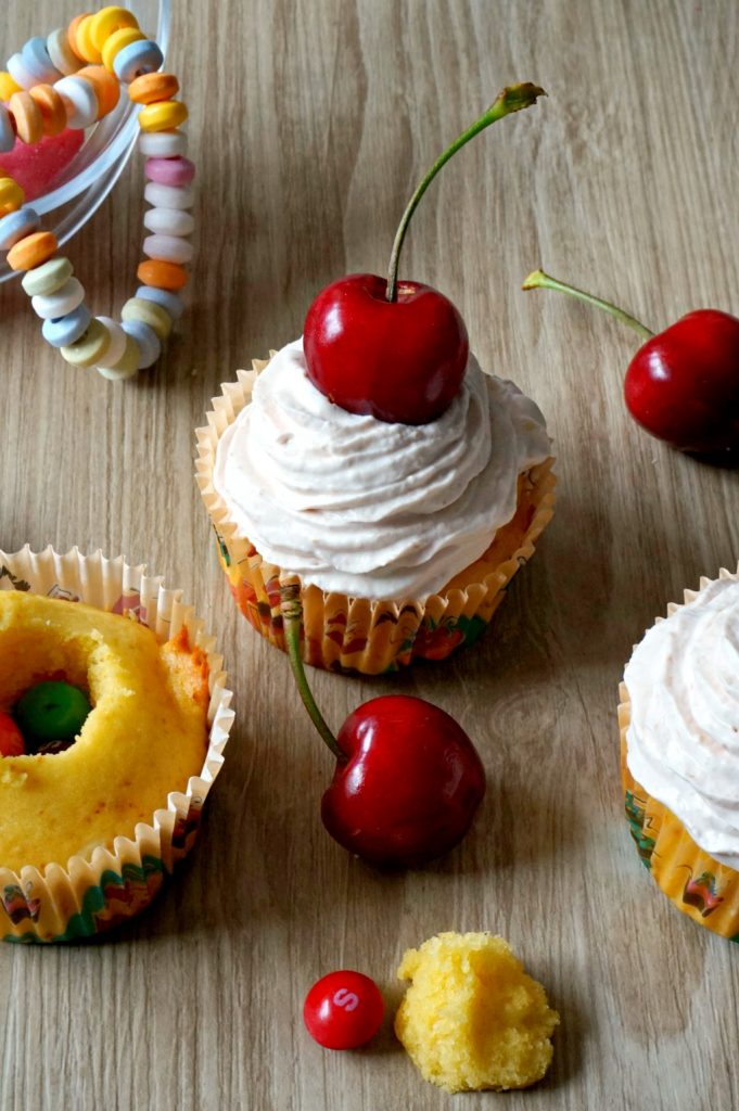 cupcake cerise skittles